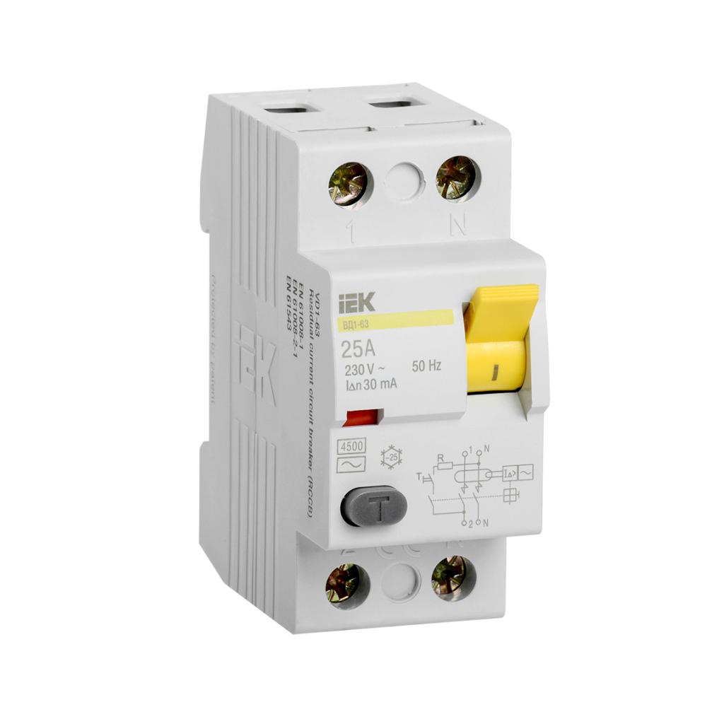 Выключатель дифференциального тока (УЗО) 2п 25А 30мА тип AC ВД1-63 - изображение